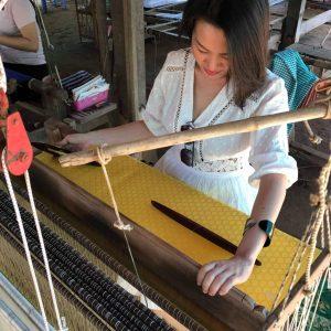 Weaving Khmer silk