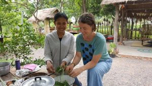 Cooking at a organic farm in Battambang