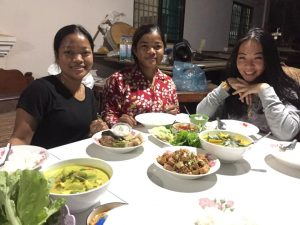 Eat together after the cooking class in Siem Reap
