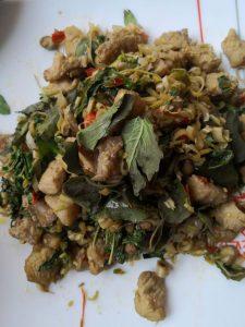 Stir fried  crocodile meat in Siem Reap