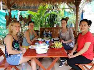 Guests after cooking with locals in Phnom Penh