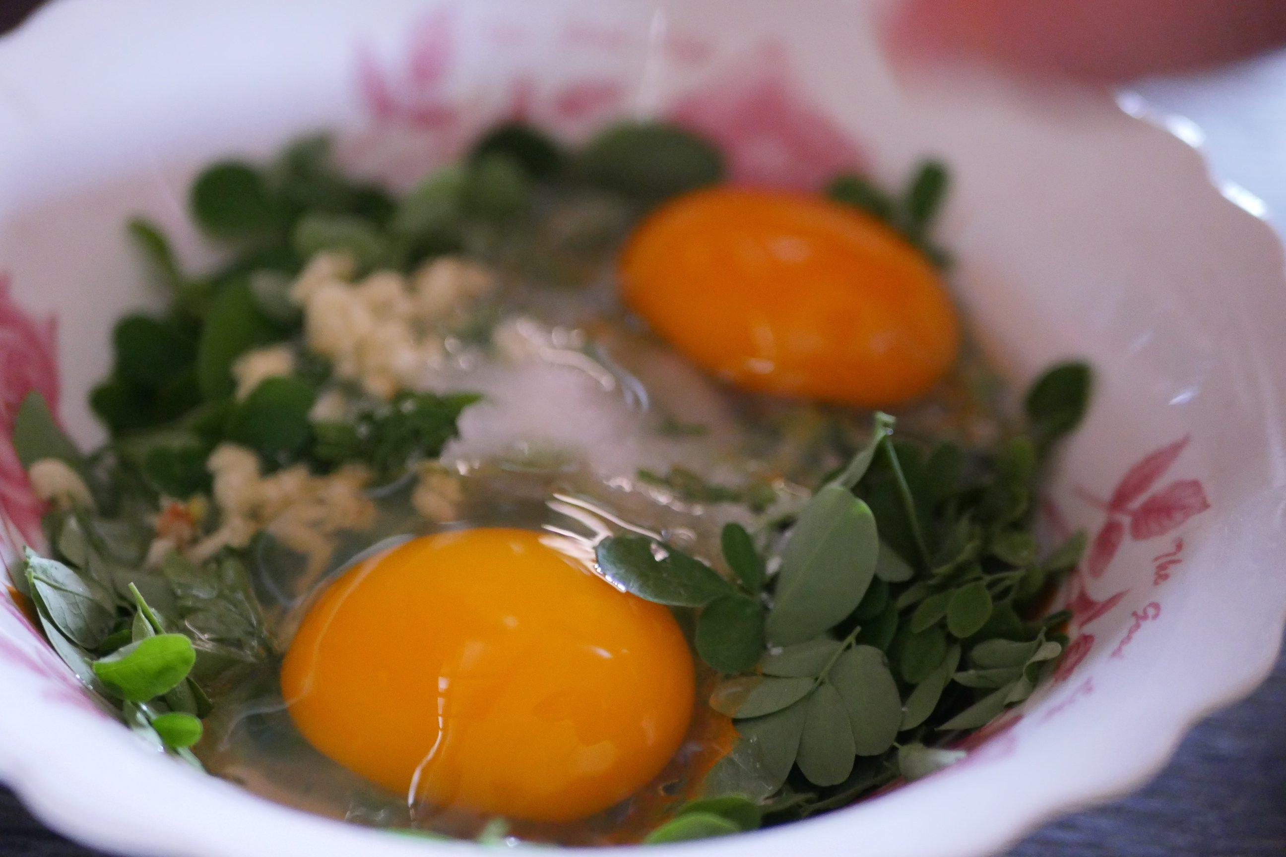 Khmer herb omelette made from duck eggs