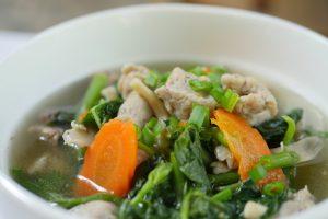 Soup with handmade pork meatballs