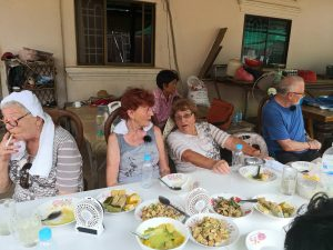 The old people enjoyed Cambodian food