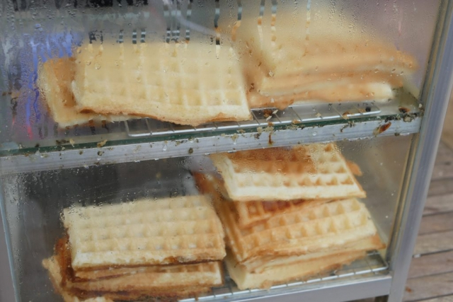 Delicious fresh waffles in Siem Reap