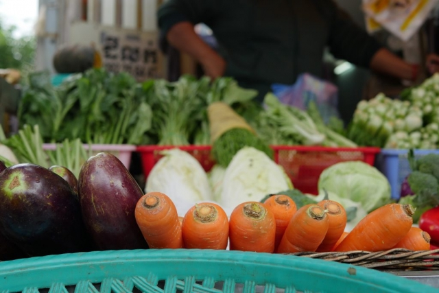 Fresh vegetables at the local market in Cambodia