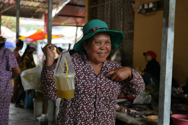 When you visit a local market in Cambodia, try the sugar cane juice