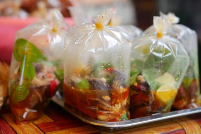 Crab salad in a bag
