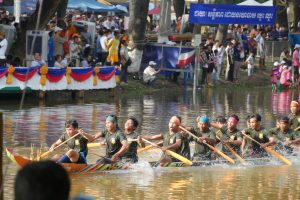 Boat race during water festival in Cambodia