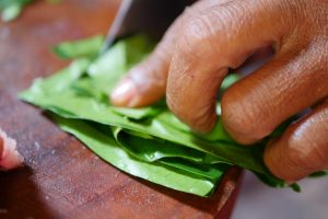 Finely sliced noni leaves
