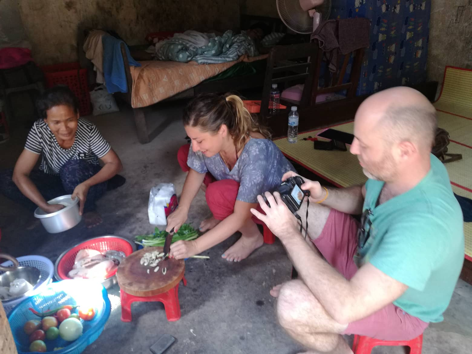 Guest cooking fish amok in Siem Reap