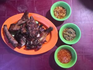 Grilled chicken and pork ribs